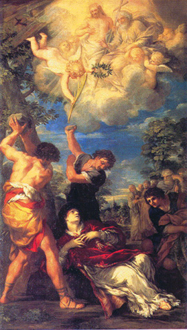The stoning of St. Stephen, Deacon and Martyr